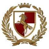 heraldik för illustration 3D, röd-vit vapensköld Guld- olivgrön filial, ekfilial, krona, sköld, häst Isolat royaltyfri illustrationer