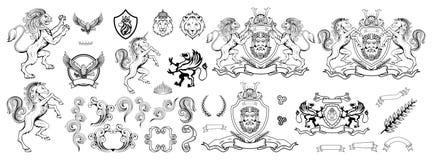 Heraldik, heraldiskt vapen eller vapensköld, heraldiska beståndsdelar för din design, gravyr, retro stil för tappning, heraldikdj vektor illustrationer