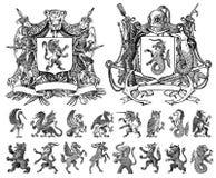 Heraldik i tappningstil Inristad vapensköld med djur, fåglar, mytiska varelser, fisk, drake, enhörning, lejon royaltyfri illustrationer