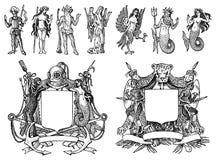 Heraldik i tappningstil Inristad vapensk?ld med djur, f?glar, mytiska varelser, fisk, drake, enh?rning, lejon vektor illustrationer