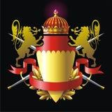 Heraldikemblem med lions Arkivbilder