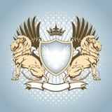 Heraldiksköld med lejonet Arkivbild