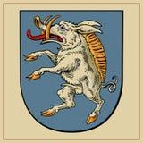 Heraldisch dier op schild Stock Afbeeldingen