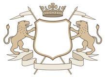 Heraldisch embleem: kroon & leeuwen Royalty-vrije Stock Foto's