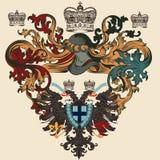 Heraldisch ontwerp met wapenschild, schild en adelaar Stock Foto