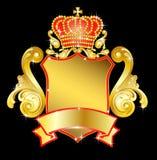heraldisch schild met kroon Stock Afbeelding