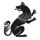 Heraldisch van de huisdierenhond of wolf ongebreideld dier Stock Foto