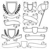 Heraldische Bänder und Kamm lokalisiert Einfarbiges Wappen des Entwurfs Lizenzfreies Stockfoto