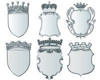 Heraldische Elementsammlung und Wappen Schablone Stockfotos