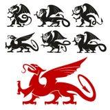 Heraldische Griffioen en mythische Draaksilhouetten Stock Afbeeldingen