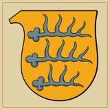 Heraldische hoornen op schild Royalty-vrije Stock Foto's