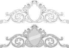 Heraldische kam met schild Royalty-vrije Stock Afbeeldingen