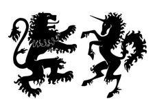 Heraldische Leeuw en Unicorn Vector Royalty-vrije Stock Foto's