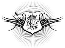 Heraldische leeuw hoofdwapenschild tattoo6 Stock Fotografie