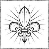 Heraldische leliedruk met stralen Vectorillustratie in uitstekende zwart-wit stijl Stock Foto's