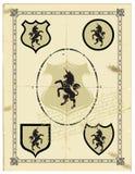 Heraldische paardeenhoorn Stock Foto