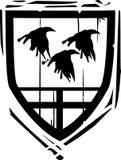Heraldische Schildraven Royalty-vrije Stock Afbeeldingen