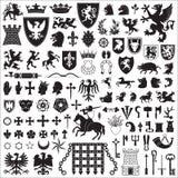 Heraldische symbolen en elementen stock illustratie