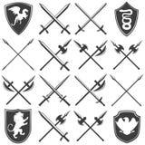 Heraldische Waffenkammer-grafische Ikonen eingestellt Stockfoto