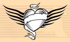Heraldischer geflügelter Bandherz-Tätowierungshintergrund Stockfotos
