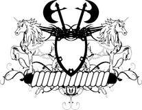 Heraldisches Einhornwappen Kamm shield3 Lizenzfreies Stockfoto