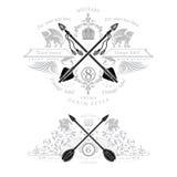 Heraldisches Element von zwei Weinlese mit Querpfeilen und mythischem Tier vektor abbildung