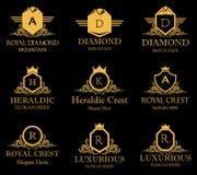 Heraldisches königliches Kamm-Vektor-Logo Lizenzfreies Stockbild