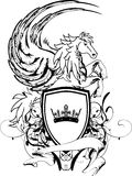 Heraldisches Pegasus-Wappen Kamm shield4 Lizenzfreies Stockfoto