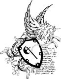 Heraldisches Pegasus-Wappen Kamm shield6 Stockbilder