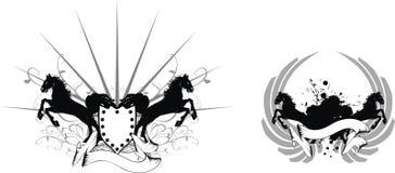 Heraldisches Pferdenwappen set1 Lizenzfreie Stockfotos