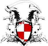 Heraldisches Pferdewappen Kamm shield4 Stockbilder