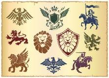Heraldisches Set mit Löwen und Adlern Stockfoto