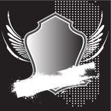 Heraldisches silbernes Schild mit Fahne stock abbildung