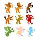 Heraldisk djur uppsättning Grip, lejon och minotaur Teague leopard vektor illustrationer