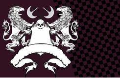 Heraldisk grip- och skallevapensköld background2 royaltyfri illustrationer