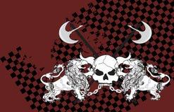 Heraldisk grip- och skallevapensköld background3 stock illustrationer