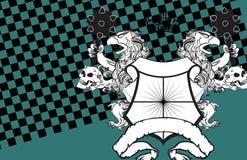 Heraldisk grip- och skallevapensköld background4 royaltyfri illustrationer
