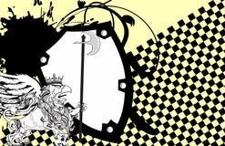 Heraldisk grip- och skallevapensköld background5 stock illustrationer