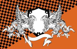 Heraldisk grip- och skallevapensköld background6 royaltyfri illustrationer