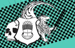 Heraldisk grip- och skallevapensköld background7 stock illustrationer