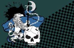 Heraldisk grip- och skallevapensköld background8 stock illustrationer