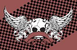 Heraldisk grip- och skallevapensköld background0 stock illustrationer