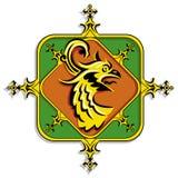 Heraldisk guld- grip Arkivbilder