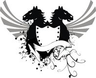 Heraldisk hästvapensköld 4 Arkivbild