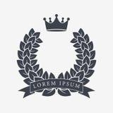 Heraldisk kranssymbol med kopieringsutrymme och band för inskrift Heder- eller kvalitets- eller belöningsymbol kvinna för vektor  royaltyfri illustrationer