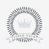 Heraldisk kranssymbol med kopieringsutrymme och band för inskrift Heder- eller kvalitets- eller belöningsymbol kvinna för vektor  stock illustrationer