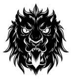 Heraldisk lejonhuvudframdel stock illustrationer
