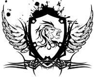 Heraldisk lejonhuvudvapensköld tattoo4 Royaltyfri Bild