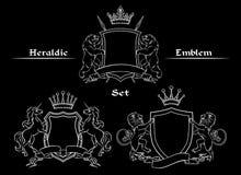 Heraldisk logoteckenuppsättning stock illustrationer