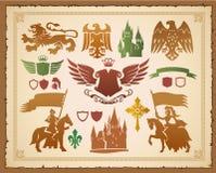 heraldisk medeltida set Arkivfoto